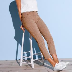 Blancheporte 3/4 kalhoty, proužkované bílá/hnědošedá 42