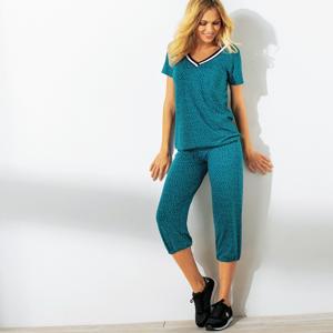 Blancheporte 3/4 kalhoty s potiskem a pružným pasem modrá tyrkysová 42/44