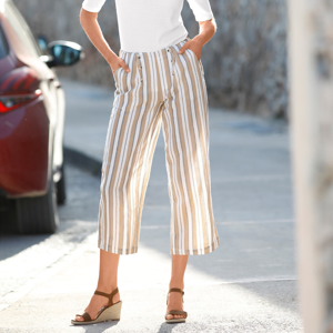 Blancheporte 3/4 kalhoty s potiskem, bavlna/len béžová/režná 54
