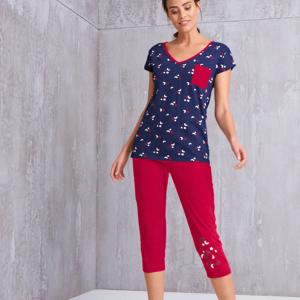 Blancheporte 3/4 pyžamové kalhoty s motivem hvězdiček červená 38/40