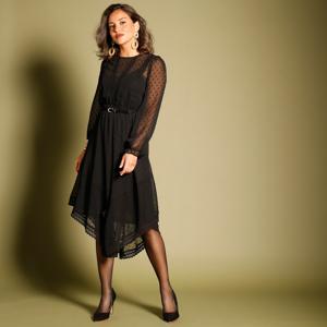 Blancheporte Asymetrické šaty s výšivkou černá 38