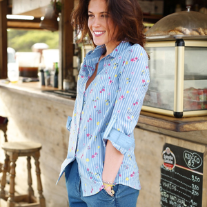 Blancheporte Bavlněná košile s proužky a kytičkami modrá 48