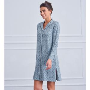 Blancheporte Bavlněná noční košile s potiskem a kostýmkovým límečkem modrošedá 38/40