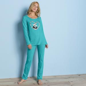 Blancheporte Bavlněné pyžamo s dlouhými rukávy a potiskem smaragdová 56