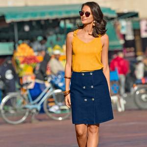 Blancheporte Denimové sukně s knoflíky modrá 36
