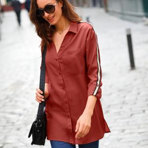 Blancheporte Dlouhá jednobarevná košile s lampasy paprika 44