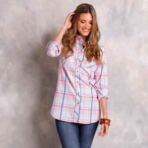 Blancheporte Dlouhá kostkovaná košile růžová/modrá 48