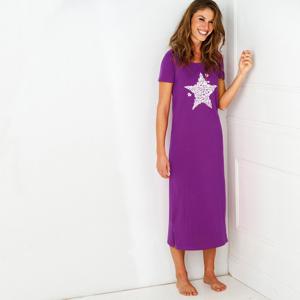 Blancheporte Dlouhá noční košile, potisk hvězdiček purpurová 50