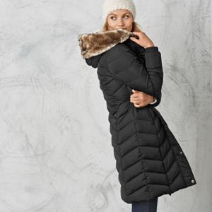 Blancheporte Dlouhá prošívaná bunda s kapucí černá 44