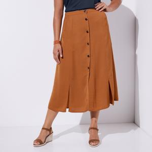 Blancheporte Dlouhá sukně s knoflíky oříšková 50