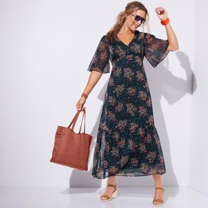 Blancheporte Dlouhé šaty, potisk indigo/korálová 54