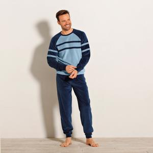 Blancheporte Dvoubarevné sametové pyžamo s dlouhými rukávy modrá 117/126 (XXL)