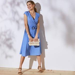 Blancheporte Džínové šaty s překřížením sepraná modrá 42