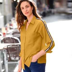 Blancheporte Jednobarevná košile s lampasy medová 50