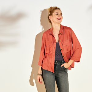 Blancheporte Jednobarevná košile s náprsními kapsami cihlová 40