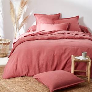 Blancheporte Jednobarevné ložní prádlo, ze lnu v prané úpravě růžové dřevo klasické prostěradlo 270x325cm