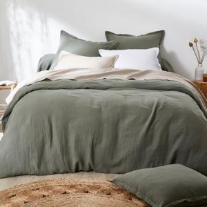 Blancheporte Jednobarevné ložní prádlo, ze lnu v prané úpravě zelená napínací prostěradlo 140x190cm