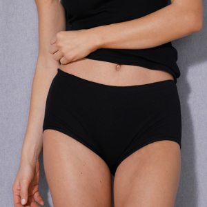 Blancheporte Jednobarevné maxi kalhotky, bavlna černá 46/48