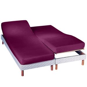 Blancheporte Jednobarevné napínací prostěradlo na polohovatelnou postel, flanel švestková napínací prostěradlo 180x200cm