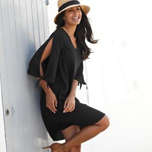 Blancheporte Jednobarevné šaty se zavázáním černá 44