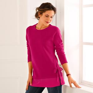 Blancheporte Jednobarevný pulovr ze dvou materiálů třešňová 52