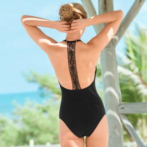 Blancheporte Jednodílné jednobarevné plavky Casalta, macramé záda černá 40