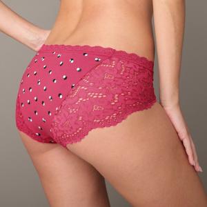 Blancheporte Kalhotky shorty s potiskem puntíků, sada 3 ks růžová+pudrová+bordó 50/52