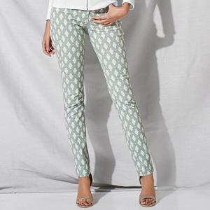 Blancheporte Kalhoty s potiskem zelenkavá/bílá 36