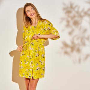 Blancheporte Kimono s potiskem listů žlutá 38/40
