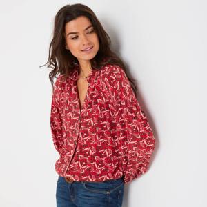 Blancheporte Košilová halenka na knoflíčky, minimalistický design červená/zelená 38