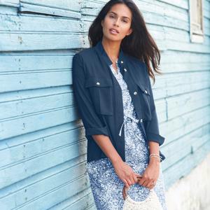 Blancheporte Košilové sako na knoflíky indigo 50