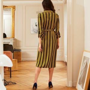 Blancheporte Košilové šaty s proužky černá/medová 46