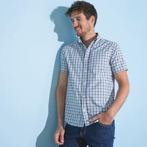 Blancheporte Kostkovaná košile, rovný střih, krátké rukávy modrá/bílá 47/48