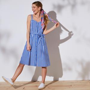 Blancheporte Kostkované šaty na ramínka modrá/bílá 42