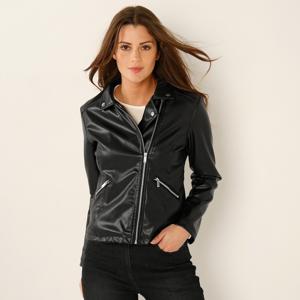 Blancheporte Koženková bunda na zip černá 48