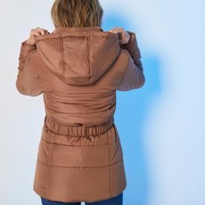 Blancheporte Krátká prošívaná bunda s páskem oříšková 48