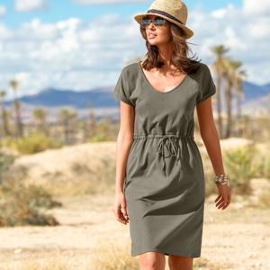 Blancheporte Krátké jednobarevné šaty khaki 54