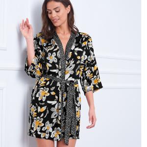 Blancheporte Krátké saténové kimono s potiskem černá/žlutá 38/40