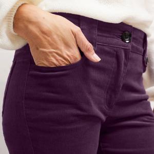 Blancheporte Manšestrové kalhoty s knoflíky černý rybíz 44