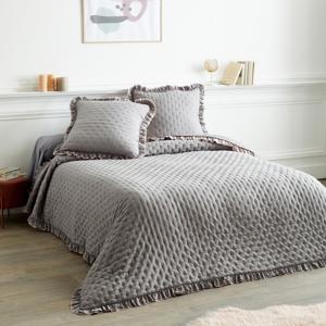 Blancheporte Oboustranný přehoz na postel s volány šedá/růžová přehoz 150x150cm