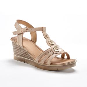 Blancheporte Páskové sandály na klínku s aplikací květin, béžové béžová 40