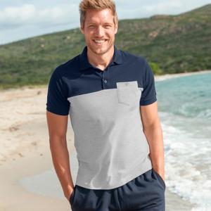 Blancheporte Polo tričko s krátkými rukávy nám.modrá/šedý melír 97/106 (L)