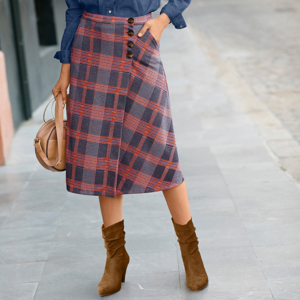 Blancheporte Pouzdrová sukně z Milano úpletu karamelová/nám.modrá 50