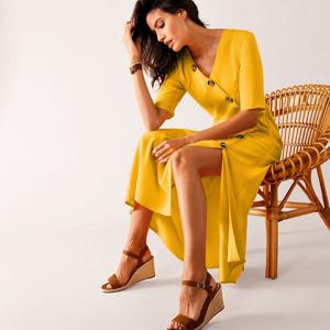 Blancheporte Pouzdrové šaty na knoflíky žlutá 40