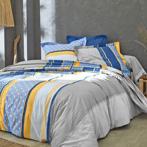 Blancheporte Povlečení Archie, bavlna šedá/modrá napínací prostěradlo 160x200cm