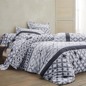 Blancheporte Povlečení Marlow, bavlna, zn. Colombine šedá/černá napínací prostěradlo 90x190cm