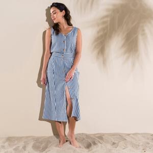 Blancheporte Pruhovaná sukně s knoflíky modrá/režná 46