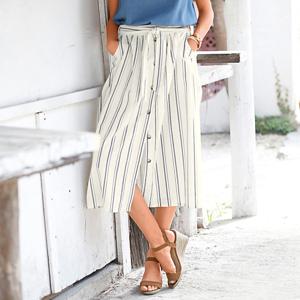 Blancheporte Pruhovaná sukně z bavlny-lnu režná/indigo 48