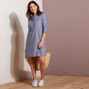 Blancheporte Pruhované šaty s dlouhými rukávy šedá 56