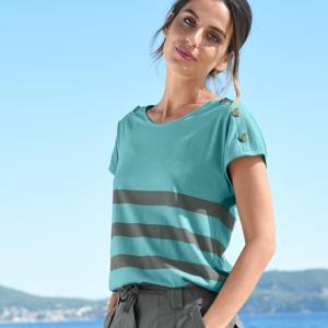 Blancheporte Pruhované tričko s krátkými rukávy sv.tyrkysová/bronzová 52